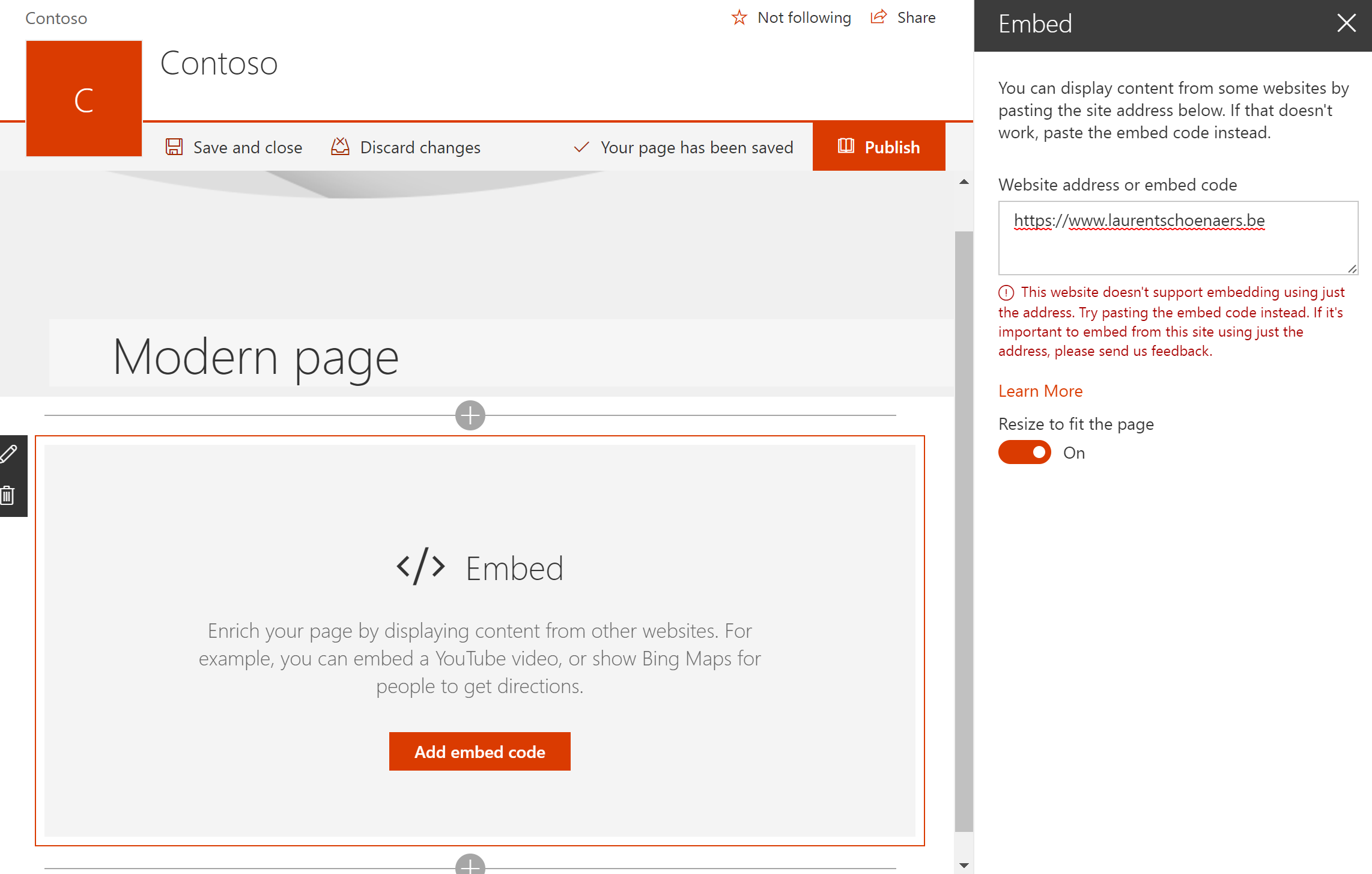 Embedding external content in an Office 365 Group / SharePoint Online site