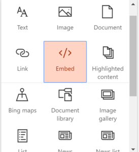 Embedding external content in an Office 365 Group / SharePoint